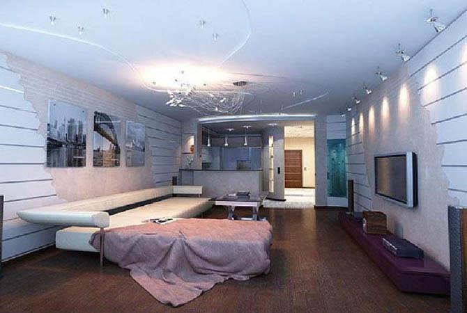 дизайн жилой комнаты однокомнатной квартиры