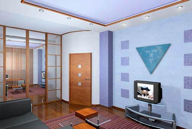 интерьер квартиры с камином и витриной